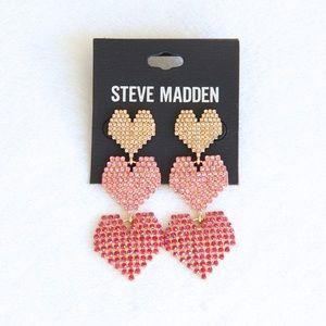Steve Madden Rhinestone Tiered Heart Earrings